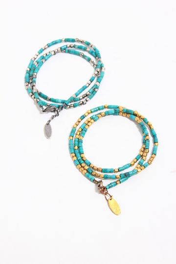 【PIECE OF CHORD】CY TURQUOISE×BRASS TRIPLE BRACELET ブレスレット