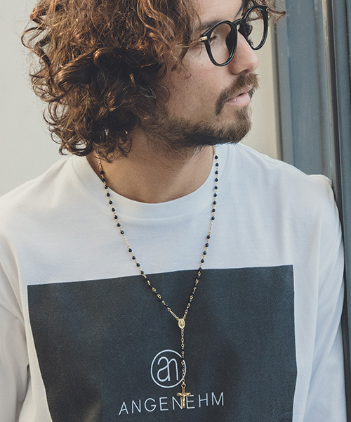 【ANGENEHM(アンゲネーム)】Onyx Rosary Necklace ネックレス(A001)