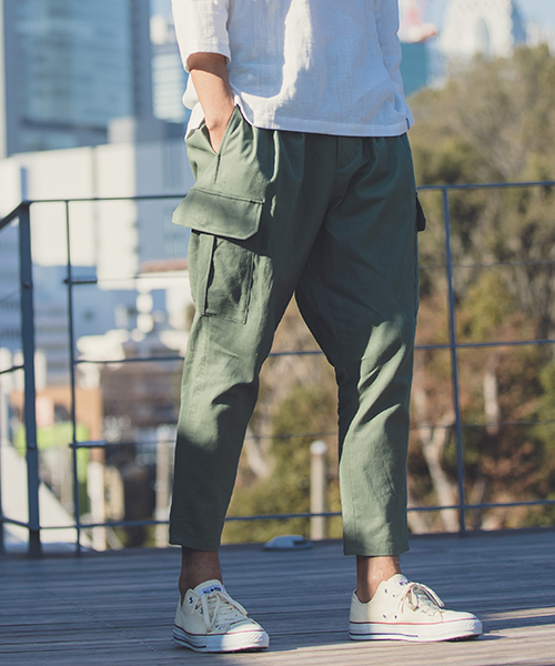 【ANGENEHM(アンゲネーム)】Cotton Linen Tuck Tapered Ankle Cargo Pants(MADE IN JAPAN) パンツ(ANG9-020)