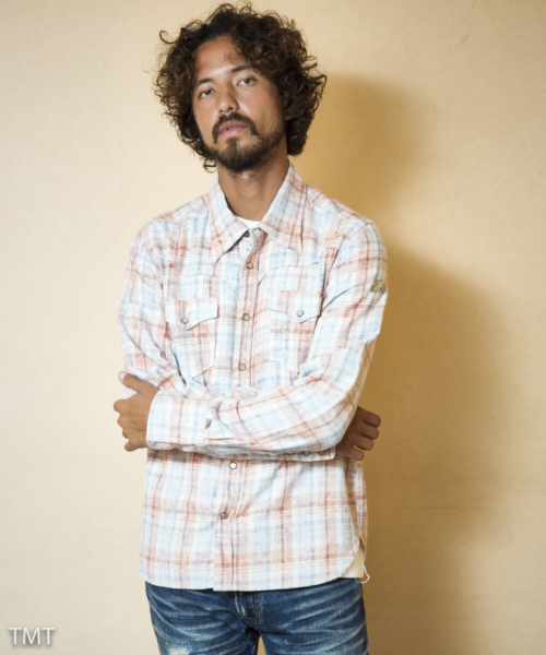 【TMT(ティーエムティー)】TSHS1808-SPECK-BLEACH CHECK SHIRTS シャツ